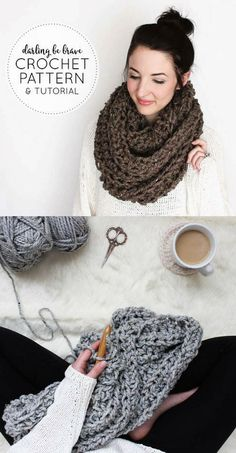 CROCHET PATTERN & TUTORIAL • The Caulfield Infinity Scarf • Chunky Texture { Step by Step Photo Tutorials Included } #crochetpattern #tutorial #affiliate #etsyshop