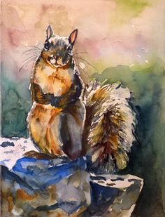 Squirrel Watercolor Art Print by Maure Bausch