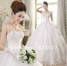 Luxurious Sexy Lace bridal gowns  plus size Wedding Dresses Puffy Ball gown Bridal Wedding Dresses2014 $112.00