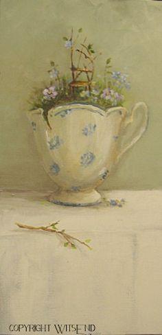 Fairy Tea painting ooak original tea cup still life by 4WitsEnd