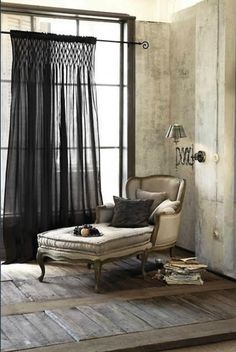 Love this scheme with French country styling # black gauze curtain unexpected colour adds excitement and surprise