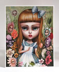 Alicia en el jardín de las flores, edición limitada Alicia en el país de las maravillas firmada numerado 8 x 10 el surrealismo pop Fine Art Print por Mab Graves
