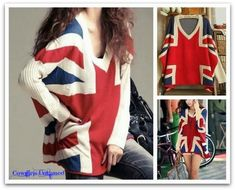 ON SALE!  ONLY $29.99  COWGIRL ATTITUDE SWEATER Red Blue Beige UNION JACK Flag V Neck Over Sized Sweater  #sweater #pullover #sale #blue #clearance #red #UnionJack #red #wholesale #onlineshopping #womens #clothing #England #flag #boutique #fashionistas
