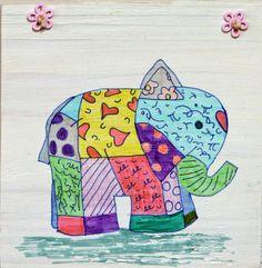 kleurrijk bordje olifant