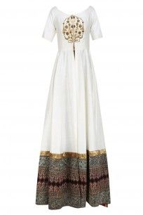 White Zardozi Embroidered off Shoulder Floor Length Anarakli with Gold Pants