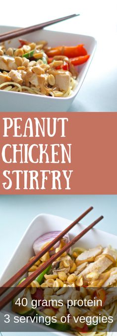 Peanut Chicken Stirfry. Always a crowd pleaser and healthy too with 40g of protein and 3 servings of veggies in each portion!