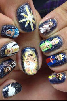 Nativity scene nail art Animal Nail Designs, Animal Nail Art, Nail Art Designs, Crazy Nail Art, Crazy Nails, Christian Crafts, Christian Christmas, Xmas Nails, Holiday Nails