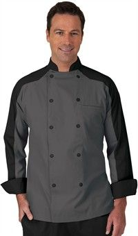 Men's Contrast Raglan Sleeve Chef Coat - Snap Front Closure - 65/35 Poly/Cotton  this is for my other cooks and chefs