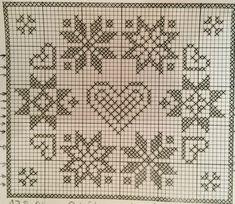 A Glimpse of Christmas – Ausblick auf Weihnachten Filet Crochet, Crochet Cross, Cross Stitch Charts, Cross Stitch Designs, Cross Stitch Patterns, Crochet Tablecloth Pattern, Crochet Doilies, Holiday Crochet, Crochet Home