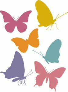 Silhouette Design Store - View Design #77230: butterfly silhouettes - side & front view