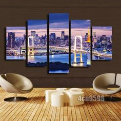 MODERN HOME WALL ART OIL PAINTING ON CANVAS THEME -CITY NIGHT 5P(NO FRAMED)#084