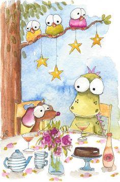 Original watercolor painting whimsical Dragon mouse garden tea #IllustrationArt