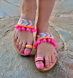 Colorful Sandals Malibu / Pom Pom Sandals /