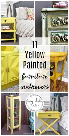 Add a little pop of color, and bring some spring inside, with yellow! Check out these yellow furniture makeovers for inspiration to get you started! Yellow Painted Furniture, Milk Paint Furniture, Purple Furniture, Painted Bedroom Furniture, Colorful Furniture, Yellow Chalk Paint, Yellow Paint Colors, Yellow Painting, Furniture Makeover