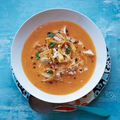 Silky Tortilla Soup // More Delicious Chicken Soups: http://www.foodandwine.com/slideshows/chicken-soup #foodandwine