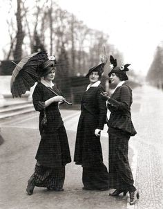 Sharply tailored and masculine fashions on the Bois de Boulogne, 1914.