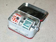 Altoids Tin stamp dispenser. Geek Crafts, Diy And Crafts, Arts And Crafts, Craft Projects, Projects To Try, Craft Ideas, Mint Tins, Steampunk Diy, Steampunk Necklace