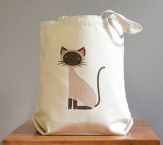 Siamese canvas tote bag cute and adorable par squarepaisleydesign, $16.00