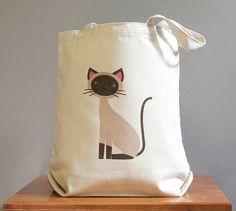 Siamese canvas tote bag cute and adorable par squarepaisleydesign, $16.00
