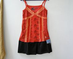 Bohemian Spagetti Strap Tunic Upcycled Red by MoreThanPrettyThings