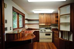 Kitchen (Esherick House by Louis Kahn) with copper sink and woodwork designed by Wharton Esherick