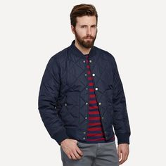Dartmouth Quilted Bomber in Navy   Frank & Oak