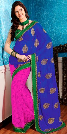 Classic Blue and Pink Banarasi Silk Silk Saree - IG9055 USD $ 98.09