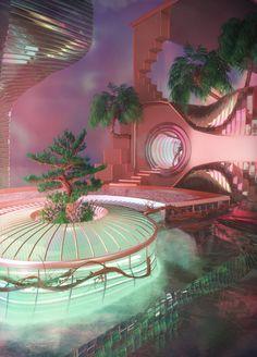 Baustil Ideen - Baustil Ideen – verträumte Oase via Katie Blake 🌴💘 – Aesthetic Rooms, Aesthetic Design, Retro Home Decor, 1950s Decor, Retro Futurism, Dream Rooms, Dream Bathrooms, Cool Rooms, Aesthetic Pictures