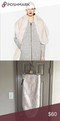 Zara faux fur stole Beautiful white stole to dress up or down Zara Accessories Scarves & Wraps