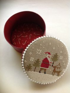 Primitive cross stitch Christmas box by Brenda Gervais
