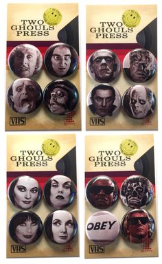 """Set of 9 Addams Family 1/"""" Pinback Buttons or Magnets"""