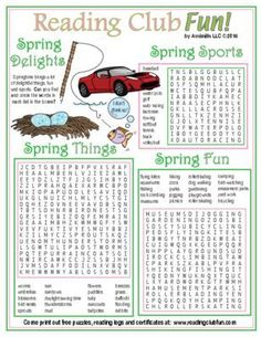 SPRING DELIGHTS - Springtime brings a lot of delightful things -- Students build vocabulary and spelling is reinforced while they have fun finding and circling all of the springtime sports, springtime things, and springtime activities in these Word Search