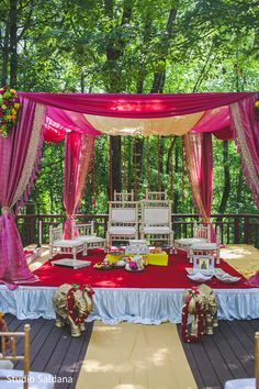 The outdoor Indian wedding ceremony takes place!                                                                                                                                                     More
