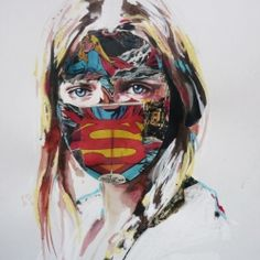 Illustrator Sandra Chevrier covered female portraits with comic book collages, leaving nothing but the mouths and eyes exposed. #artwork #art #colorful