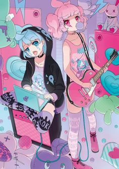 Pastel goth anime girls: