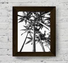 palm tree print, palm print, palm tree poster, black and white palm tree, tropical print, tropical poster, black and white prints, palm art di AlemiPrints su Etsy