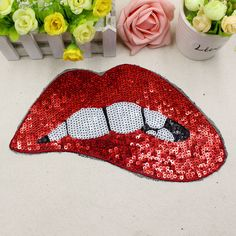 Red Sequins Lips Patches For Garment Accessories Embroidered Iron On Patches For Clothing DIY Motif Applique Custom Clothes, Diy Clothes, Trendy Jewelry, Iron On Patches, Alibaba Group, Embroidery Patterns, Sewing Crafts, Applique, Ties