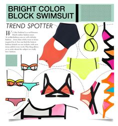 """Color Block Swimsuit"" by serepunky ❤ liked on Polyvore featuring Agent Provocateur, Boohoo, Sexy Romantie, Flagpole Swim, River Island, Summer, colorblock, swimsuit and bright"