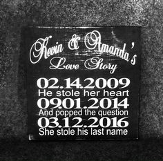 Love Story Sign Wedding Signs Engagement dates wall by SignChik