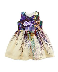 Secret Garden A-Line Chiffon Dress, Cream/Multicolor, Size 12-24 Months by Zoe at Neiman Marcus.