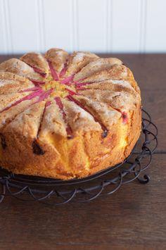 Rhubarb Custard Tea Cake - beautiful idea, but bakes up super dry and dense. must change base cake recipe! serve with rhubarb compote? Rhubarb Desserts, Rhubarb Recipes, Just Desserts, Delicious Desserts, Rhubarb Cake, Rhubarb Compote, Rhubarb Ideas, Rhubarb Coffee Cakes, Gourmet Desserts
