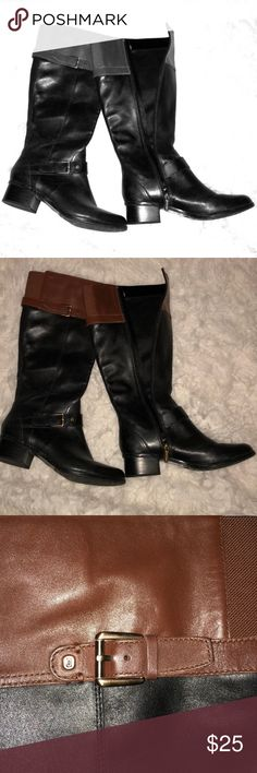 Upper Leather Riding Boots Brown Upper leather Textile interior  Worn once Bandolino Shoes Heeled Boots