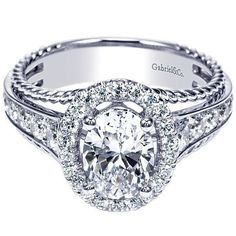 14K White Gold Oval Halo Diamond Engagement Ring with Rope Detail