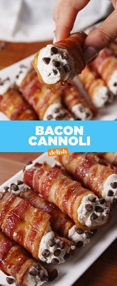 Cannoli Bacon Cannoli - sub sugar with Stevia or Swerve to make this dish deliciously Keto!Bacon Cannoli - sub sugar with Stevia or Swerve to make this dish deliciously Keto! Köstliche Desserts, Low Carb Desserts, Dessert Recipes, Desserts With Bacon, Party Recipes, Recipes Dinner, Bacon Recipes, Low Carb Recipes, Cooking Recipes