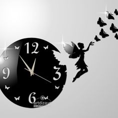 Modern wall clock black large design 15 butterfly by walldecal76, $29.00