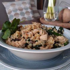 Kouzlo mého domova: Bulgurové rizoto s krůtím masem, žampiony a listov... Risotto, Potato Salad, Cauliflower, Grains, Rice, Potatoes, Meals, Baking, Vegetables