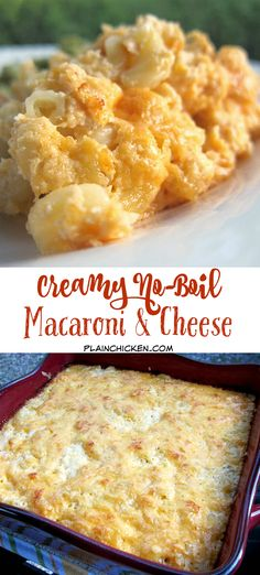 Creamy No-Boil Macaroni and Cheese - cottage cheese, milk, dijon mustard, cayenne, nutmeg, salt, pepper, sharp cheddar cheese and macaroni - Everything cooks in the same pan, even the pasta! Can make the cheese mixture ahead of time and add noodles right before baking. Our FAVORITE Mac and Cheese recipe!