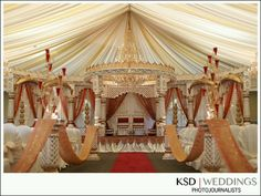 like this gold color and the simplicity of the red curtains against the white tent at the back of the mandap - overall a little overwhelming though Indian Wedding Fashion, Big Fat Indian Wedding, South Asian Wedding, Indian Weddings, Wedding Mandap, Desi Wedding, Wedding Wishes, Wedding Ideas, Wedding Set