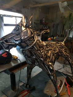 Metal dog statue made of scrap metal. Life size. One and only, unique piece of art by AtelierIslandArt on Etsy