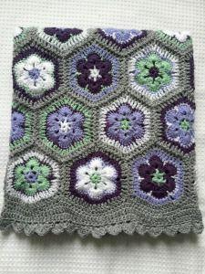 African Flower Crochet baby Blanket 4 Ply